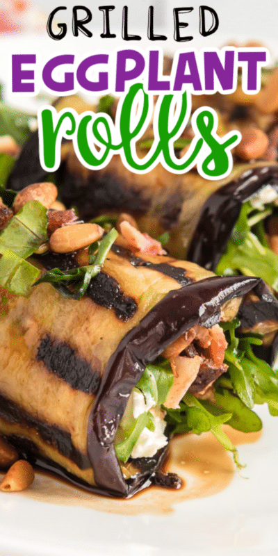 Collage of eggplant rolls with text for Pinterest