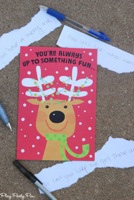 Christmas card Balderdash, such a hilarious Christmas party game idea from www.playpartyplan.com