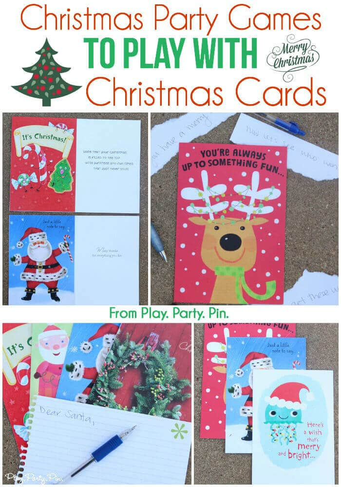 Mix things up this year with one of these creative Christmas party games from www.playpartypin using Christmas cards! Christmas Card Balderdash sounds hilarious!