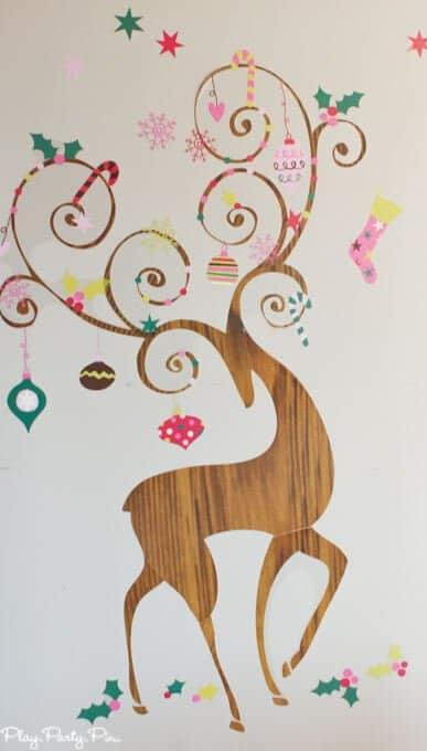 Christmas reindeer wall decal