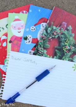Dear Santa is a hilarious Christmas party game idea, make guests write a creative letter to Santa using just Christmas card captions