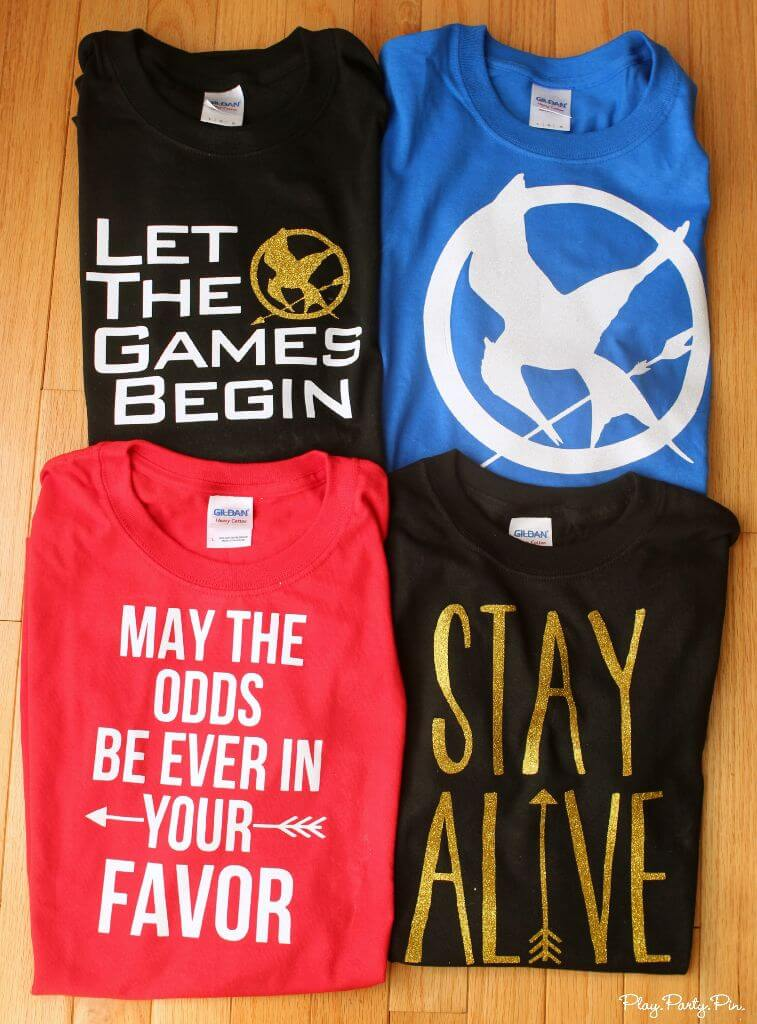 Hunger Games shirts with free Silhouette cut files, perfect for the Mockingjay premiere