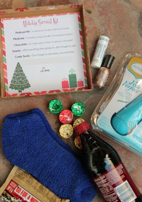 Simple holiday survival kit hostess gift idea that includes at home pedicure kit, chocolate, and other treats