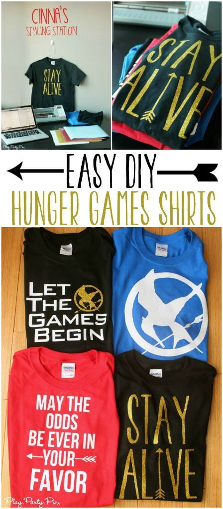 Easy DIY Hunger Games Shirt ideas with four free shirt designs perfect for the Mockingjay movie premiere