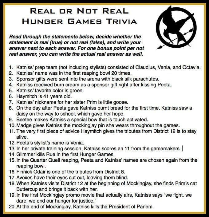 This free printable Real or Not Real trivia is just one of three great Hunger Games games on this site! Perfect for playing before watching Mockingjay.
