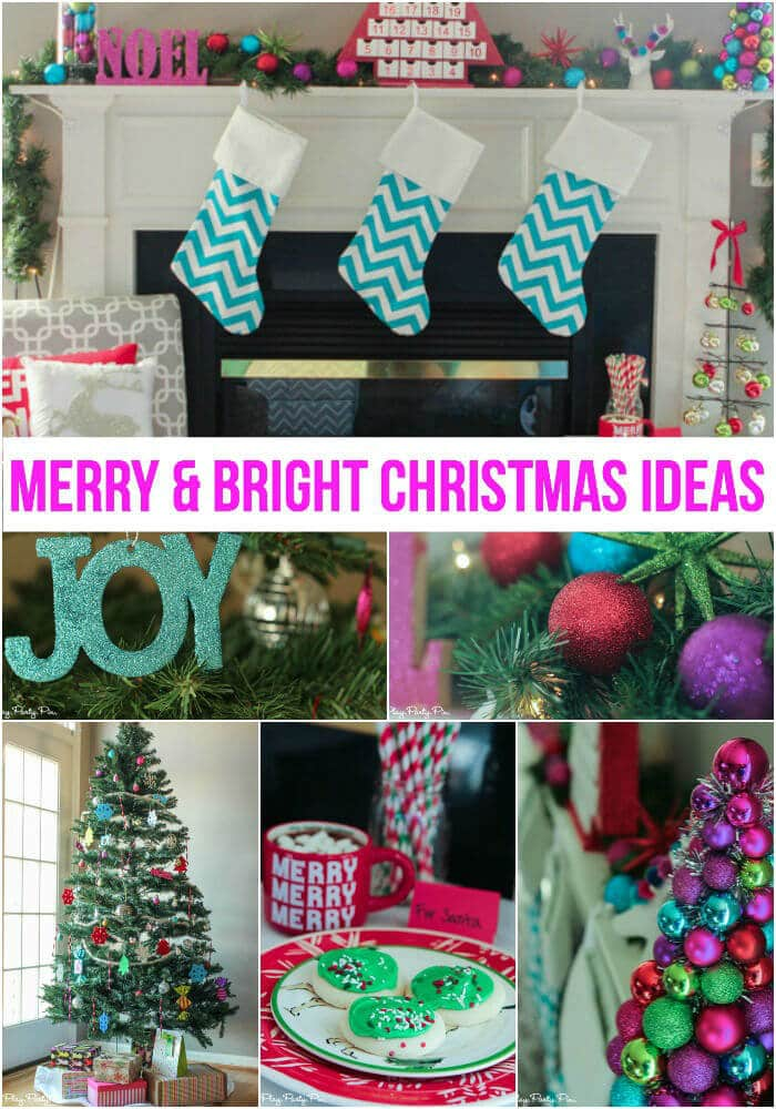 Love the idea of merry and bright Christmas decorations, especially the ornament tree and reindeer pillow