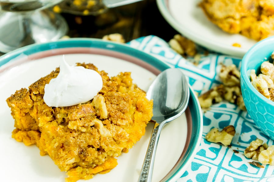 Top this pumpkin crunch cake recipe with fresh whipped cream
