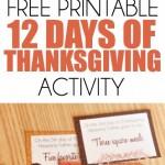 12 Days of Thanksgiving Activity Ideas