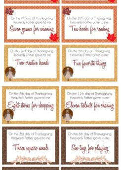Free printable 12 Days of Thanksgiving cards with tons of Thanksgiving and gratitude activities