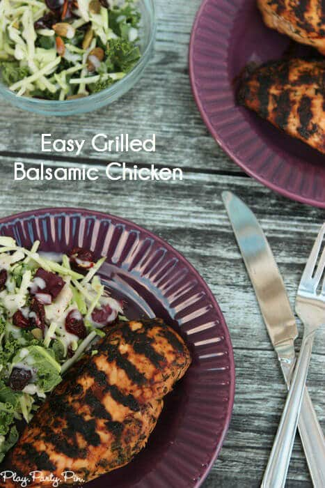 This balsamic chicken recipe is one of the easiest weeknight dinner ideas ever and so yummy! Pair it with a delicious kale salad for a great weeknight meal idea.