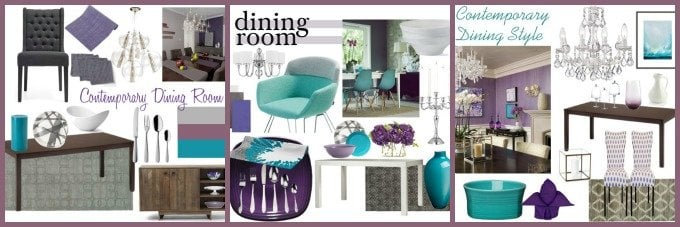 Purple and turquoise contemporary dining room ideas