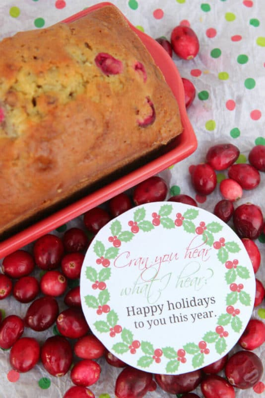 cranberry orange bread with a gift tag