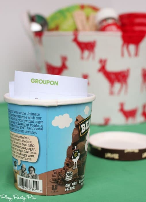 Give someone a Groupon ice cream voucher inside an empty ice cream container, fun idea!