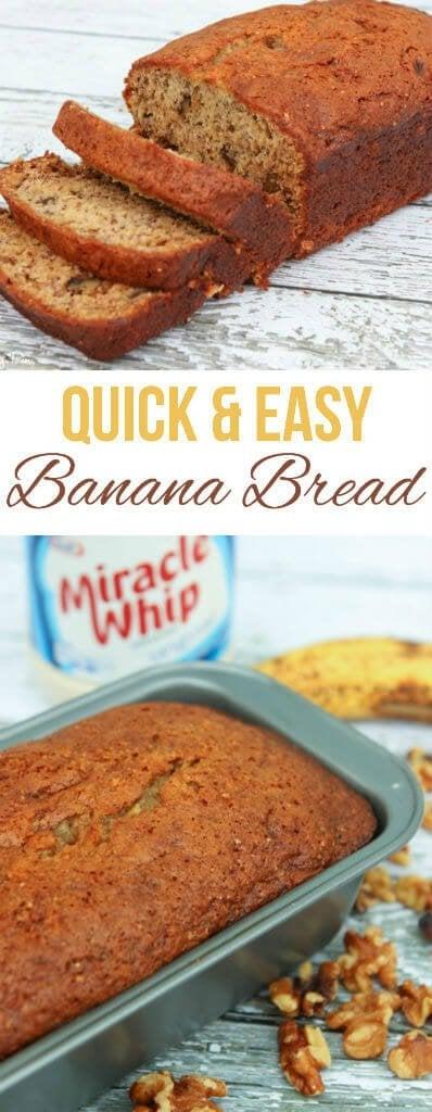 An easy and delicious banana bread recipe, perfect if you like banana walnut bread