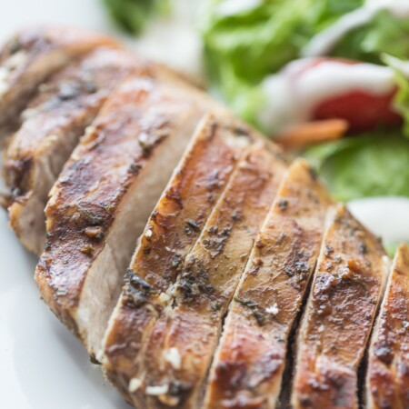 Close up picture of sliced balsamic chicken
