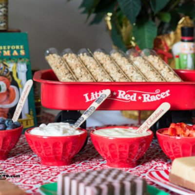 Love all of these cute Christmas party ideas inspired by Christmas morning, especially the granola bar in the little red wagon!