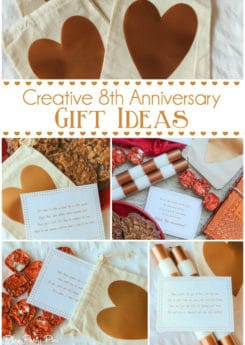 Love these fun 8th anniversary gift ideas, especially the printable scavenger hunt based on traditional 8th anniversary gifts! Such a cute idea any guy would love!
