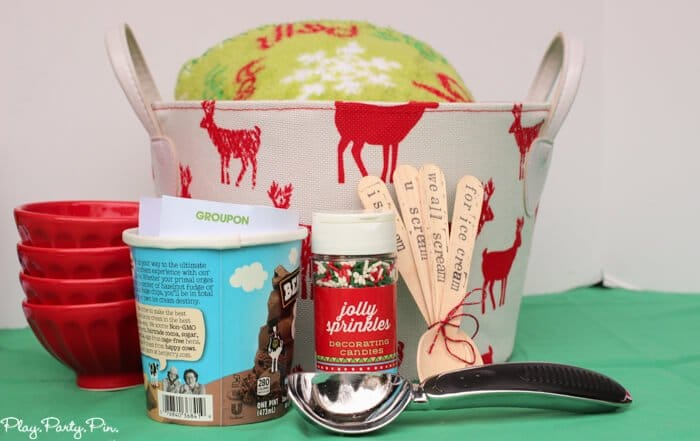 I scream you scream gift basket ice cream gift basket idea complete with a groupon to get ice cream to go negle Choice Image