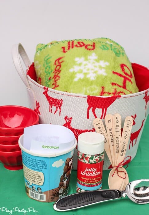 Ice cream gift basket idea complete with a Groupon to get ice cream to go