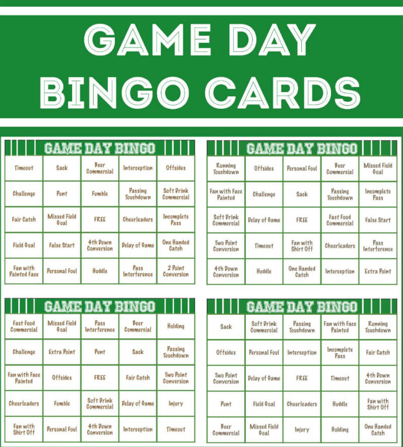 football bingo cards, perfect for playing a little Super Bowl bingo ...