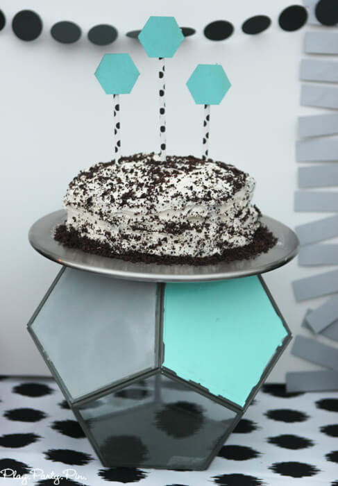 Geometric terrariums from World Market used as a cake stand, perfect for a geometric party