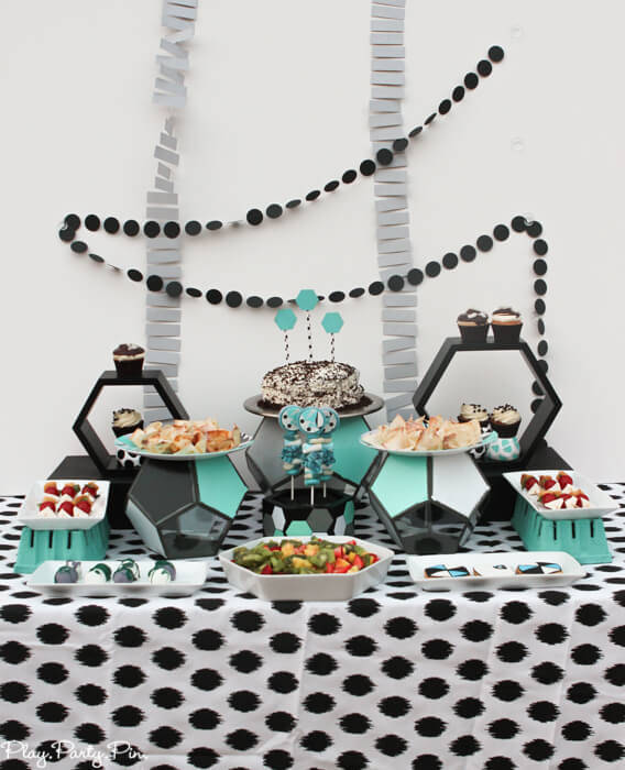 Love all of the details from this geometric party, especially all of the favorite things party details!