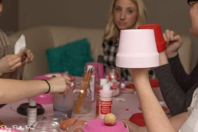 This Craft Your Heart Out girls night from www.playpartyplan.com is one of the cutest Valentine's Day party ideas I've ever seen, love it!