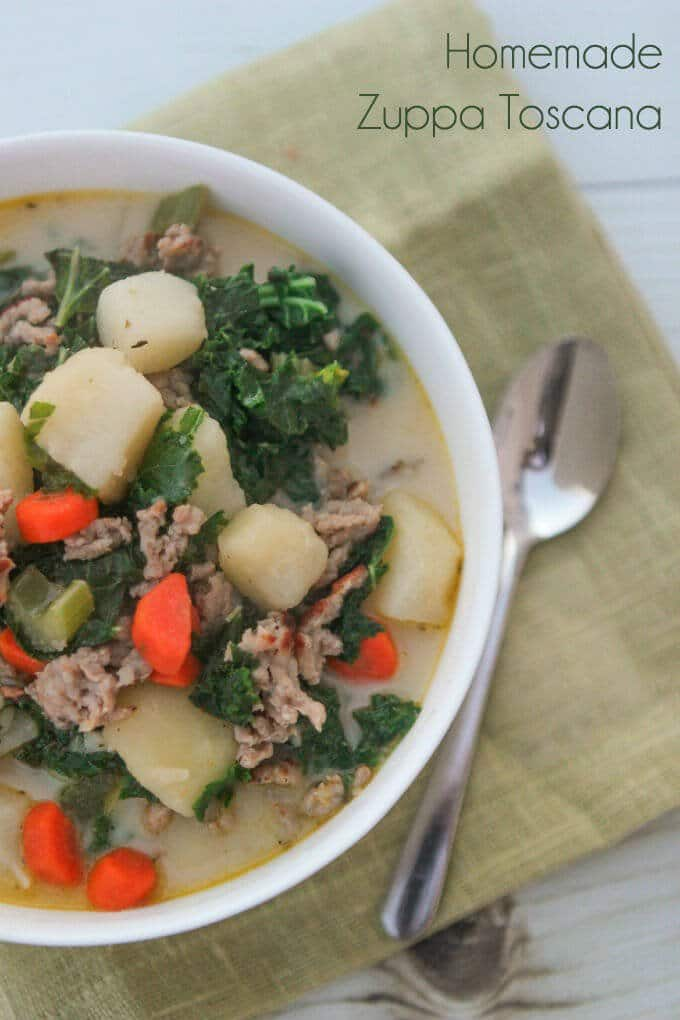 This homemade zuppa toscana soup is amazing! One of the best soup recipes to warm you up this winter.