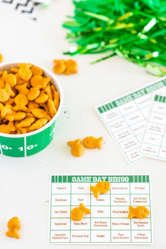 Football bingo cards with Goldfish covering the spaces