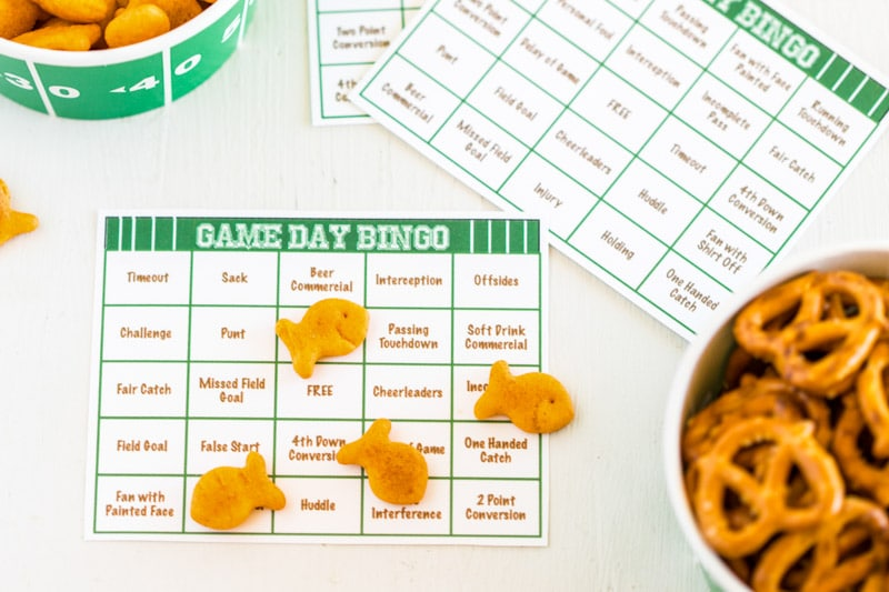 A close up of a football bingo card
