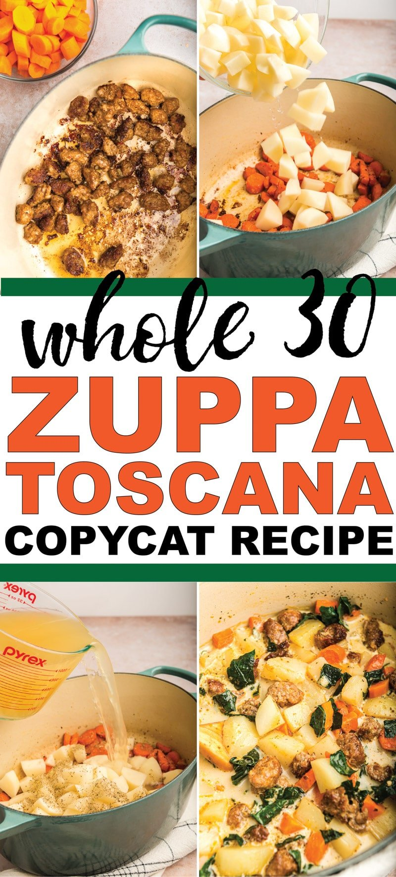 The best copycat Olive Garden zuppa toscana soup recipe! Easy to make and so good you'll never know that it's actually healthy enough to eat on Whole 30!