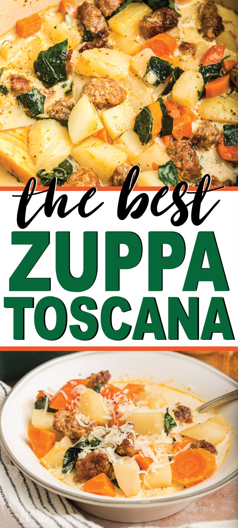 The best copycat Olive Garden zuppa toscana soup recipe! Easy to make and so good you'll never know that it's actually healthy enough to eat on Whole 30! via @playpartyplan