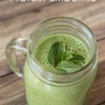 This mint green smoothie recipe is packed full of leafy greens, green fruits, and protein in one delicious smoothie recipe!