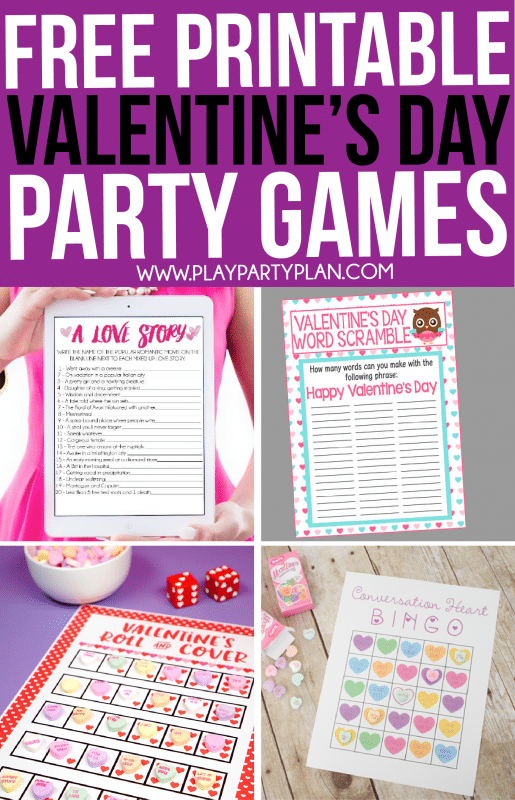 Printable Valentine's Day games for kids and adults
