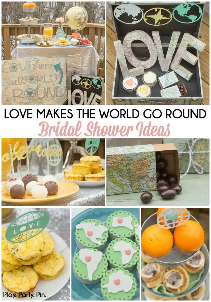 "Love the ""love makes the world go round"" theme, such fun baby shower ideas and bridal shower ideas to celebrate love!"