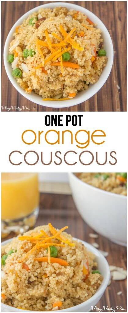 This quick and easy orange couscous recipe is the perfect side dish or even easy dinner recipe. The flavors and texture are amazing in this recipe from playpartyplan.com.