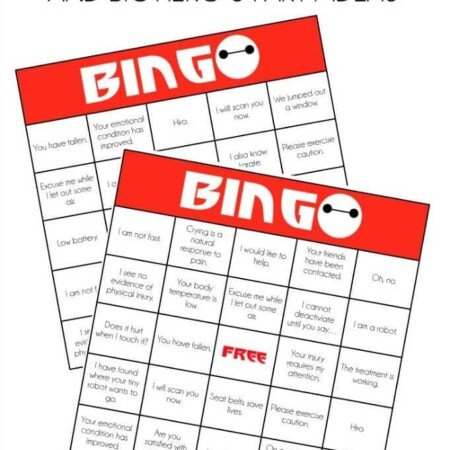 Love all of the Big Hero 6 party ideas on playpartyplan.com including these printable Baymax bingo cards to play while watching the movie!