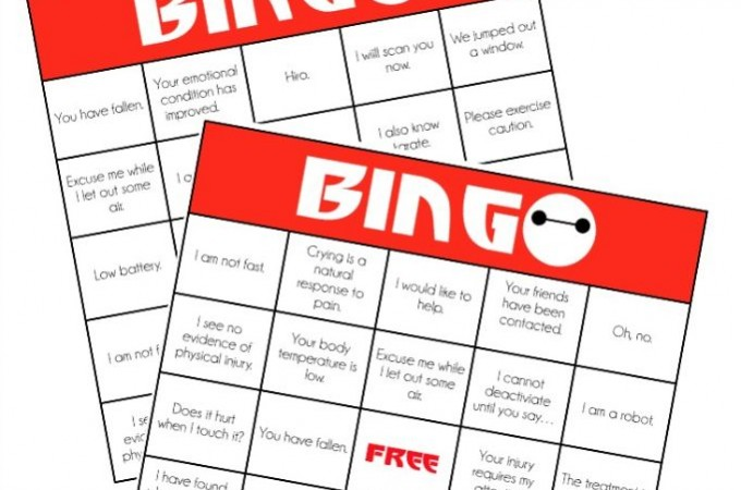 Love all of the Big Hero 6 party ideas on playpartypin.com including these printable Baymax bingo cards to play while watching the movie!