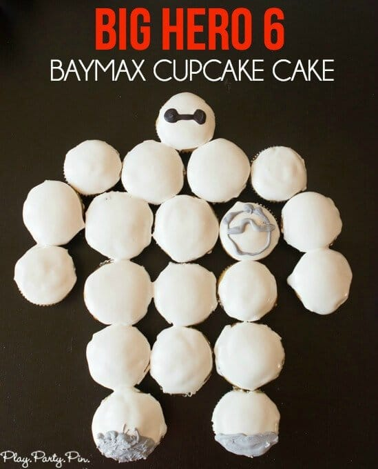 Easy Big Hero 6 Baymax cupcake cake made with marshmallow frosting