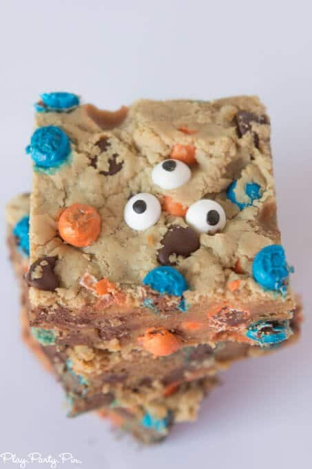 Big Hero 6 inspired Fredzilla monster bars complete with orange and blue chocolate candies and three eyes!