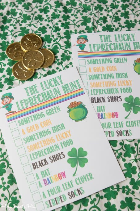 Love these leprechaun scavenger hunt ideas from playpartyplan.com! Send kids or adults on a hunt to find things that a leprechaun left behind and first one to find all items on the list wins a St. Patrick's Day surprise!