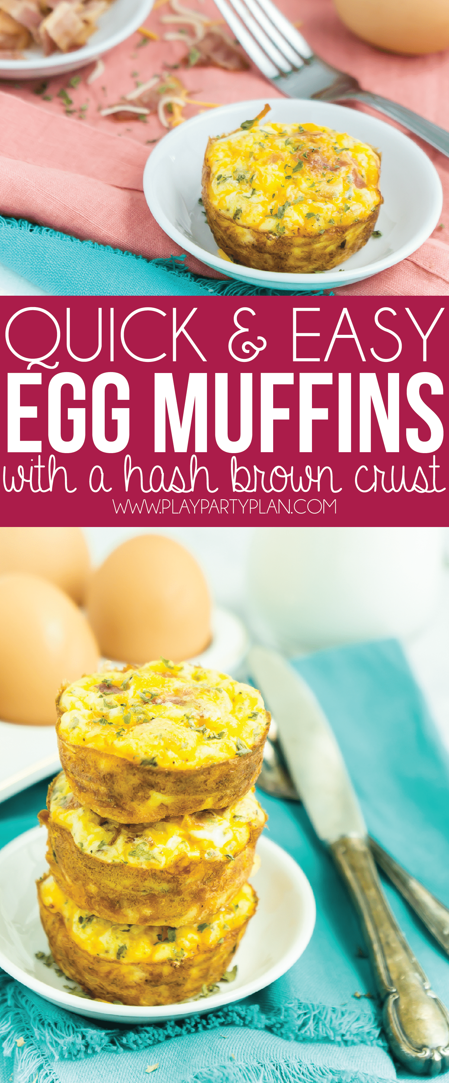 These egg muffins with a hashbrown crust are the perfect make ahead breakfast! Just fill them with bacon or sausage, bake, and pop in the freezer and reheat during the week. So easy! Want to make a low carb version that works for Keto or Whole 30? Simply take out the hash brown crust! via @playpartyplan