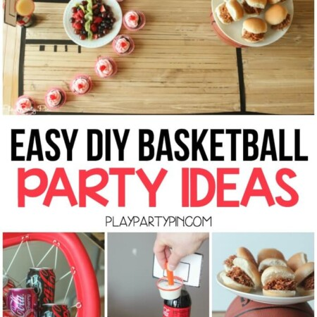 Four easy DIY basketball party ideas including a DIY tabletop basketball court, soda bottle hoops, and more!