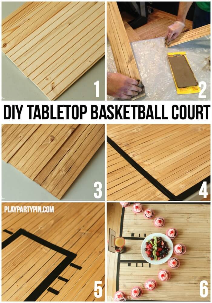 How cool is this DIY tabletop basketball court, this site has a ton of fun basketball party ideas like this one!