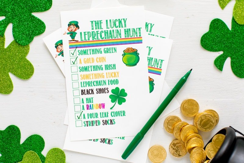 Crossed off items on lucky leprechaun games for kids