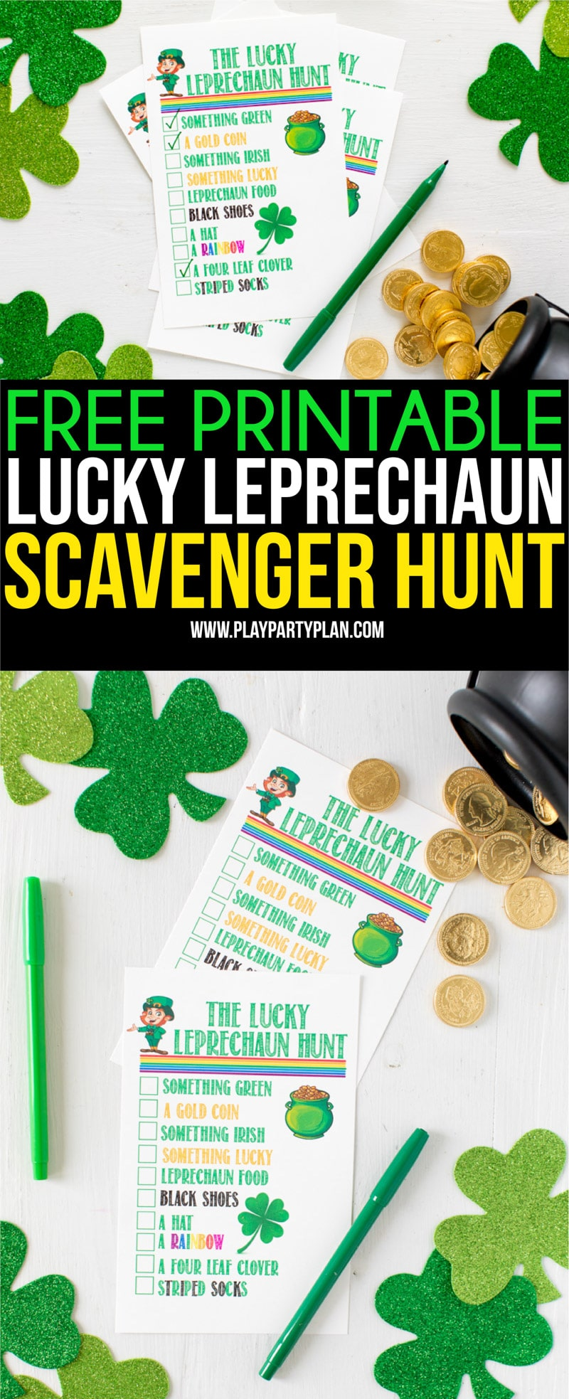 This leprechaun hunt is the perfect St. Patrick's Day activity! Whether you're having a party or just entertaining kids at home - this is one of the most fun activities ever! See who can find a shamrock, St. Patrick's Day decorations, colors, and more! Free printables you can download and print! #StPatricksDay #StPatricksDayParty #kidsactivities