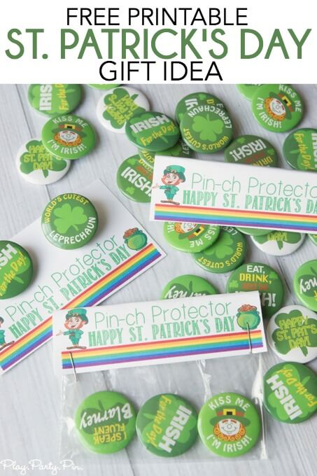 "Give your friends and family green St. Patrick's Day pins with these free pirintable ""pinch protector"" gift tags for the perfect St. Patrick's Day gift idea!"