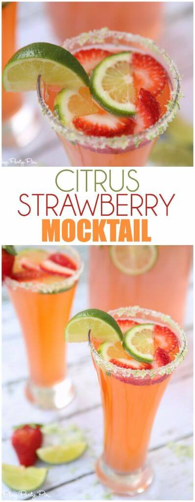 A delicious strawberry citrus mocktail recipe that's perfect for baby showers, bridal showers, and summer parties!