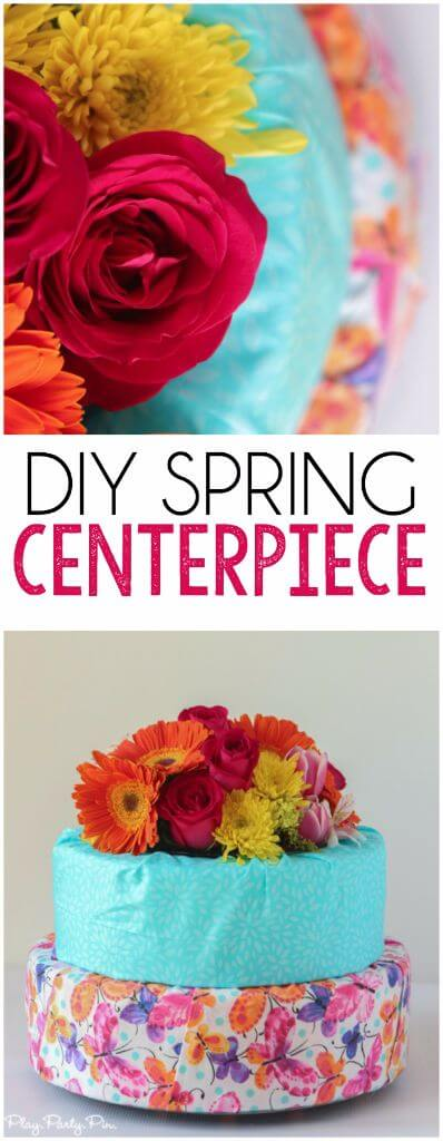 The secret to this gorgeous DIY spring centerpiece is the vase hidden inside keeping your flowers in water and fresh throughout the event, making it the perfect centerpiece for your spring party table!