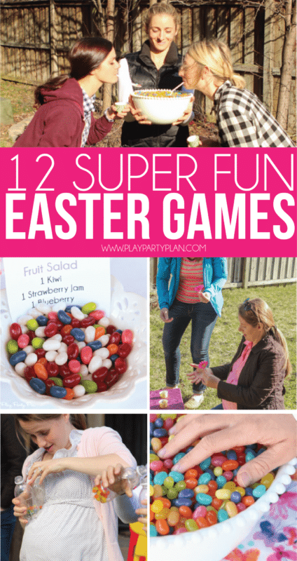 12 of the best Easter games for adults, for kids, or for teens! Play these with your family on Easter Sunday or hold an outdoor party at your church with and play these with family and friends! They're minute to win it style games so they work for all ages - preschool and up!